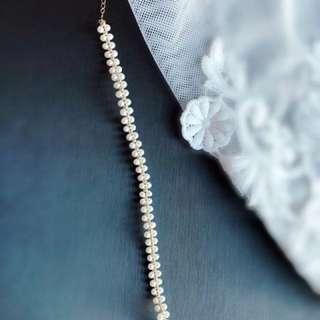 蕾絲18k金 + mini 珍珠手鍊