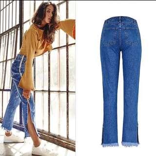 (34~44) European straight jeans denim pants bilateral zipper adjustment tassel mouth trumpet