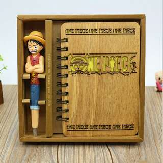 Buku Catatan Sampul Kayu dengan Pena Model One Piece - Brown
