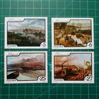 [均一價$10]1984 波蘭 維斯杜拉河風景油畫 新票一套