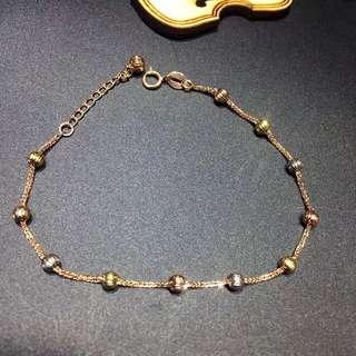 18K金三色彩珠手鍊 長度 16cm-19cm調節