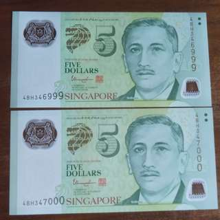 2x uncirculated running number $5 Yusof Ishak Singapore note '999' & '000