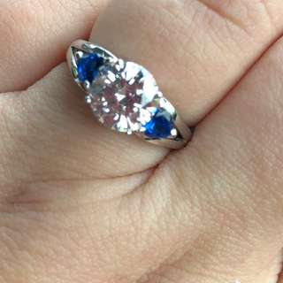 Moissanite and blue sapphire ring