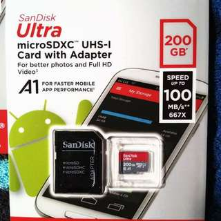 SanDisk Ultra 200GB microSD with Adapter - Class 10 - 100MB/s U1 A1 | BNEW/SEALED