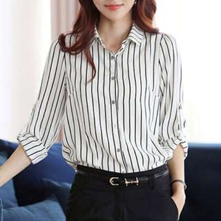 Black and white Striped 3/4 sleeved Blouse