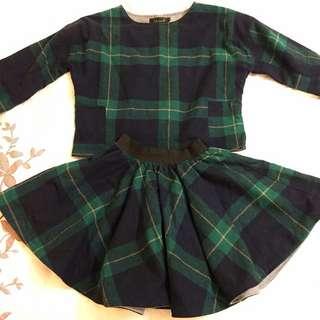 Plaid Sweater & Skirt Set