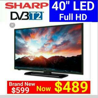 "[Brand New] SHARP 40"" Full HD LED TV with Built-in DVBT2 (for watching local HD channels)  Usual Price $ 599 Special Price: $ 489   whatsapp 85992490 for Free Delivery today."