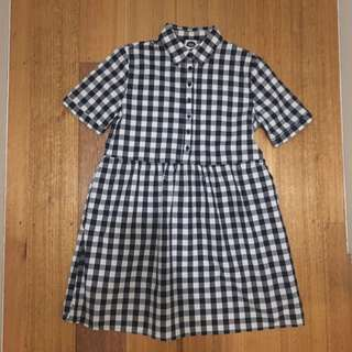 Check button-up mini dress
