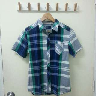 FRED PERRY Green/blue flannel shirt