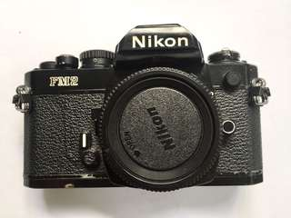 Nikon FM2 Black 35mm SLR Film Camera Body w/Nikon strap Body cap