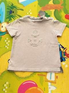 Chateau De Sable Beige Stripe Anchor Tshirt 3ans