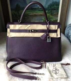 Hermes 紫色kelly 35 togo皮 M刻 銀扣 98新 配件基本都有肩帶 鎖鑰匙 好價格