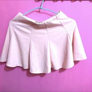 全新粉色 彈性百褶太陽裙