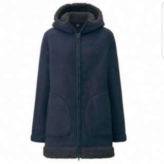 Uniqlo pile lined fleece long sleeve coat