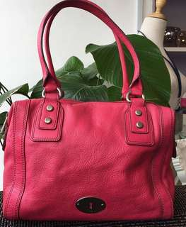 Fossil Leather Tote in Pink