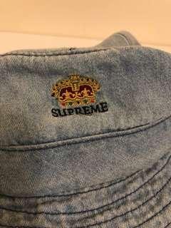 Supreme crown logo denim crusher hat / trooper / bucket hat ( light blue)