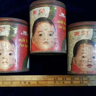 古 舊 Vintage Meiji 奶粉 罐 三個 3 pcs