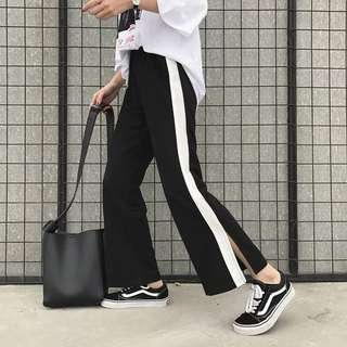 Plain / basic high waist wide Long causal pants with split