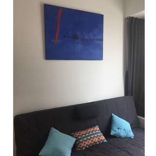 "Large Canvas Painting - Copy of Joan Miró painting ""Triptych Blue II"""