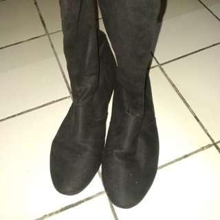 Velvet Black Thigh High Boots