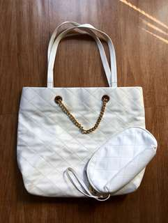 Charles & Keith White Quilted Bag With Pouch