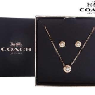 Coach F24254 新款貴氣金色珍珠頸鏈/耳環組合禮盒套裝