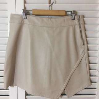 FOREVER 21 faux leather nude asymmetric skirt