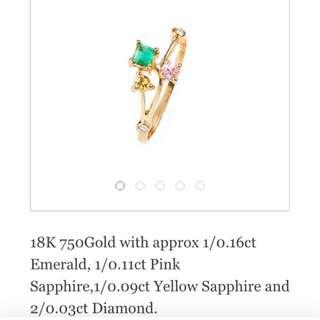 Vanessabell jewellery carolina jessamine ring 綠寶石 黃寶石 粉紅寶石 鑽石 戒指