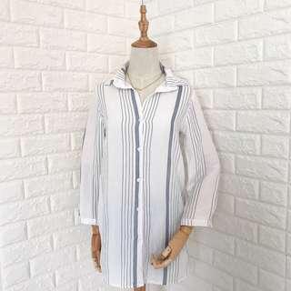 White Woven Longsleeve Dress