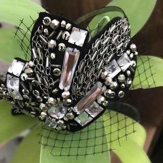 Handmade black beaded fascinator
