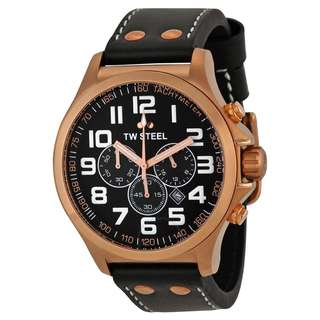 TW STEEL Pilot TW418 Watch 45mm Black Leather Rose Gold PVD Casing Chronograph