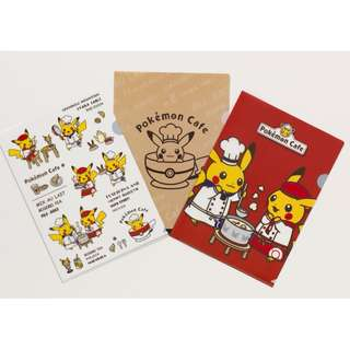 Pokemon Center Tokyo DX Cafe Exclusive Chef Waitress Pikachu Clearfile 3pcs set (Pre-Order)