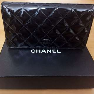 CHANEL Elegant Authentic Brand Classic Patent Leather Black Wallet