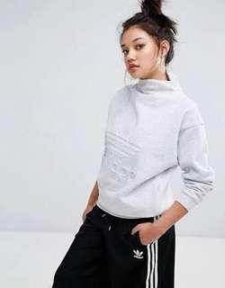 Adidas NYC High Neck Trefoil Sweatshirt, light grey