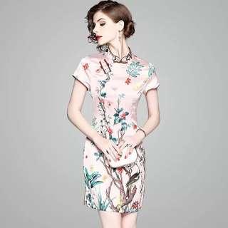 Floral prints modern vintage cheongsam Qipao dress