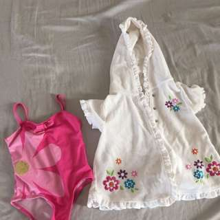 Swimwear Bathing Suit USA girls pink 18 months