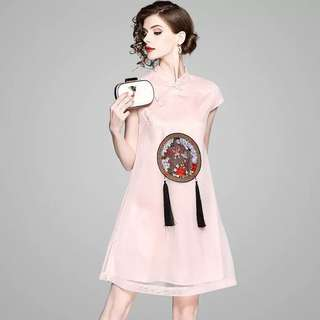 Modern cheongsam Qipao tassel loose tunic A line dress with embroidered mesh layer