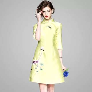 Yellow embroidered lotus modern modified cheongsam Qipao dress