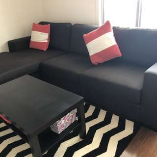 Large three seats sofa with L shape corner sofa