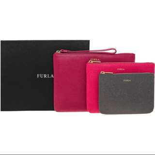 FURLA Pink & Black Set Of Three Purses