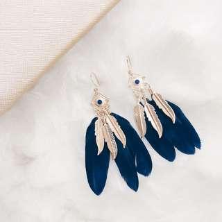 Navy Blue Feathers Earrings