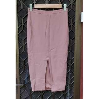 BARDOT Camel Midi Skirt Split Front Detail Bodycon Tight Tan Brown Kookai Cue Seed Sheike