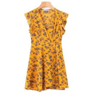[PO] yellow summer floral friends dress