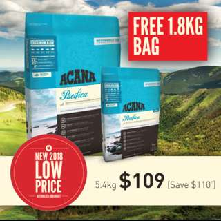 Acana Cat Pacifica 5.4kg+1.8kg Free