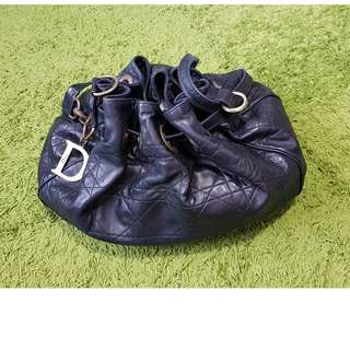 CHRISTIAN DIOR LAMBSKIN QUILTED CANNAGE DRAWSTRING BAG