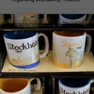 Starbucks Sweden/Stockholm Demitasse Set (3oz mugs espresso)