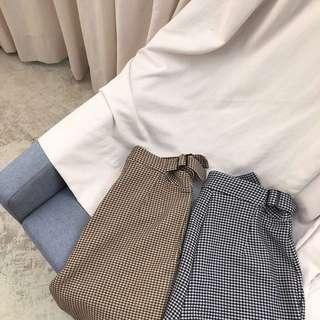 🚚 雙扣調整型復古格紋老爺褲