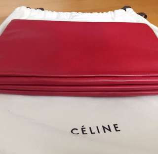 CELINE Elegant Authentic Brand Red Handbag Purse Clutch Bag