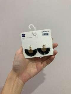 GU Black Tassel Earrings