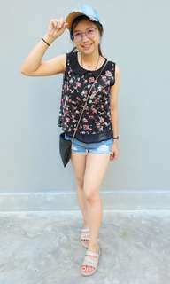 Black flora top